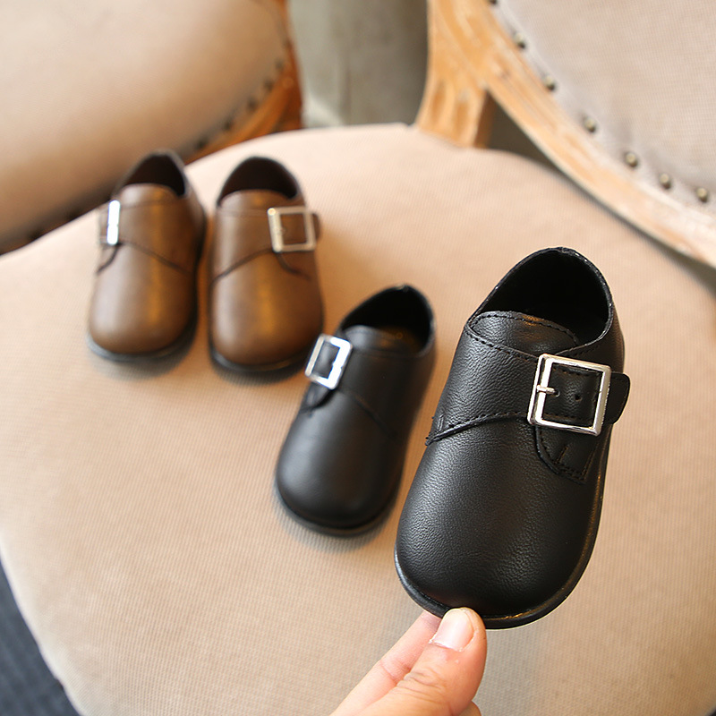 Buckle Baby Shoes 2018 Spring New Girls And Boys Leather Shoes Baby Dress Shoes