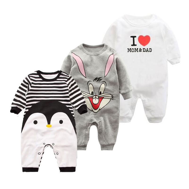 2019 Spring Autumn long sleeved   Romper   baby clothes children's clothes cartoon Penguin baby animal girl jumpsuit   Romper