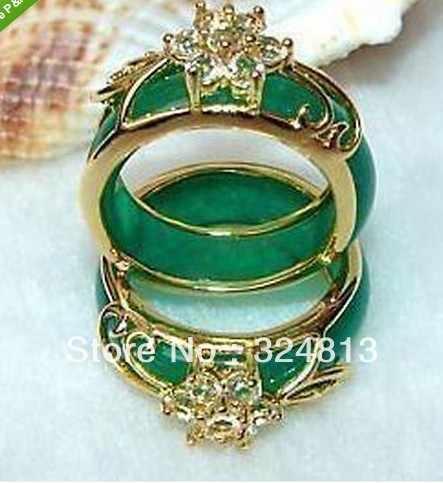 ร้อนขาย->@@ 2ชิ้นมือแกะสลักแหวนหยกสีเขียว-Top Qualityจัดส่งฟรี