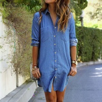 Vestidos 2016 Autumn ZANZEA Women Denim Mini Dress Female Casual Loose Long Sleeve Buttons Pockets Vintage