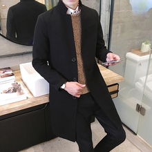 new 2017 men's boutique fashion pure color leisure in the stand collar long single-breasted woolen cloth dust coat / Mens jacket