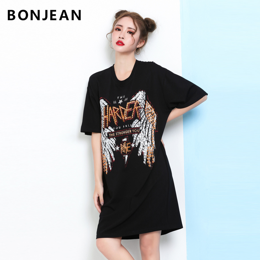Black dress tumblr - T Shirt Women 2017 Vestidos Rivet Wings Letter Sequined Vogue Dress Loose Crop Top Harajuku Unicorn