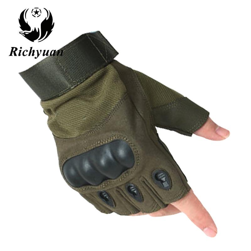 Richyuan Military Usa Special Forces Tactical Gloves Fighting Combat Slip-resistant Black Half Finger Gloves Fitness Leather Men