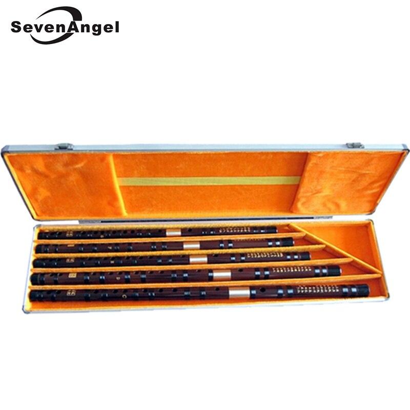 5 pçs/set Profissional Flauta de Bambu Instrumento Musical de Sopro Chinês Dizi Flauta Transversal C/D/E/F/ G Com Caso De Liga de Alumínio