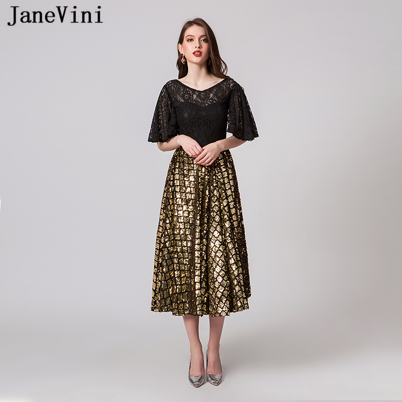 JaneVini Sparkle Gold Plus Size   Cocktail     Dresses   2019 Elegant Black Lace Sleeves V Neck Shining Sequins A Line Formal Prom Gowns