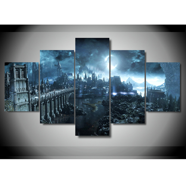 Pictures Wall Modular Art Home Decoration Frame HD 5 Panel Game Dark Souls For Living Room Modern  Print Poster Cuadros Painting 1