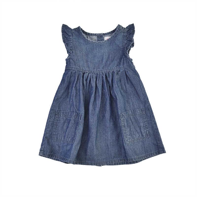 6fd07897e856f Baby Girls Denim Dresses Kids Princess Sundress Puff Sleeve Solid Jeans  Blue Tutu A-line Pockets Bebe Vestido Children Clothing