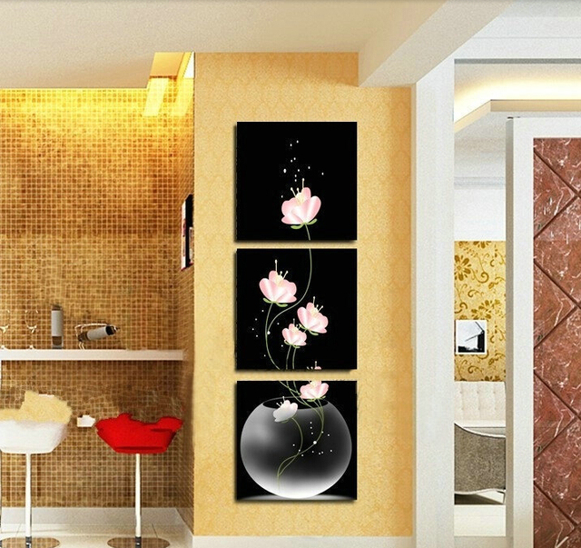 3 p Free shipping Hot Sell Beautiful Pink Flower Modern Wall ...