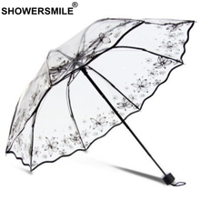 SHOWERSMILE Transparent Folding Umbrella Women Butterfly Manually Operated Parasol Female See Through Rain