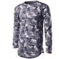 T Shirt Men 2017 Brand Long Sleeve Hip Hop Male Palace T-Shirts Mens Camouflage Hole Casual Mens Funny Tshirt Slim Tee Tops NFJS