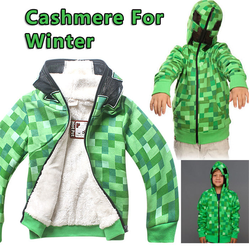 Kids Boys Halloween Minecraft Costume Green Sweatshirt Clothes Winter Hoodie Coat For Children 4-12 Years
