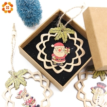 3PCS Cute Christmas Wooden Pendants Ornaments DIY Wood Crafts Kids Gift Xmas Tree Ornaments For Home Christmas Party Decorations