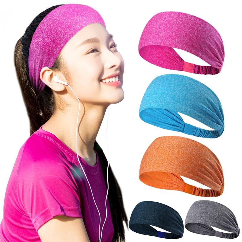 Casual Men Women Headband Anti Sweat Hair Band Sweatband Elastic Solid Hairband for Girls FS99