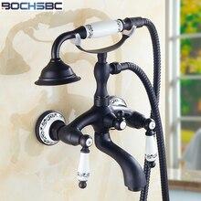 BOCHSBC Polished Black Shower Sets Brass Telephone Style Handheld Bathroom Shower Head Simple Round Vintage Hand Shower Set
