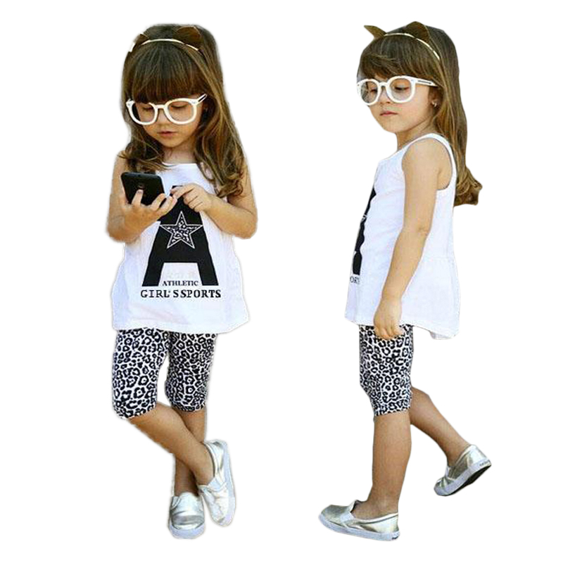 1 2 3 4 5 6 7 Year Girls Clothes Casual Cotton Baby Children Clothing Set White Vest Leopard Panst Kids Suits for Girls