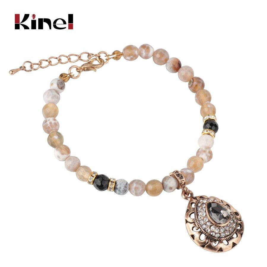 Kinel Charm Natural Stone Vintage Bracelet For Women Mosaic Gray Crystal Antique Gold Bracelets 2019 New