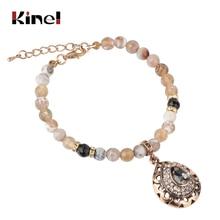 купить Kinel Charm Natural Stone Vintage Bracelet For Women Mosaic Gray Crystal Antique Gold Bracelets 2019 New по цене 176.21 рублей