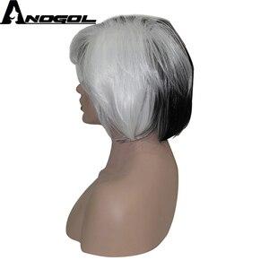 Image 3 - Anogol yepyeni Cruella Deville yan patlama yarım beyaz siyah katmanlı sentetik Cosplay peruk kadınlar için parti cadılar bayramı + peruk kap