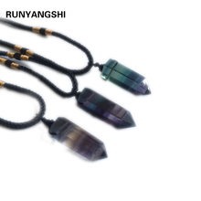 Natural Colorful Striped Column Pendant Fluorite Quartz Crystal Stone Point Healing Hexagonal Wand Treatment
