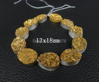11pcs Gold Titanium Druzy Drusy Stone Teardrop Pendant Beads, Drusy Quartz Flat Teardrop Nugget Stone, 13x18mm, different sizes