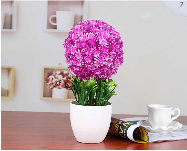 Artificial plants Snowballs bonsai home decoration plastic green ...