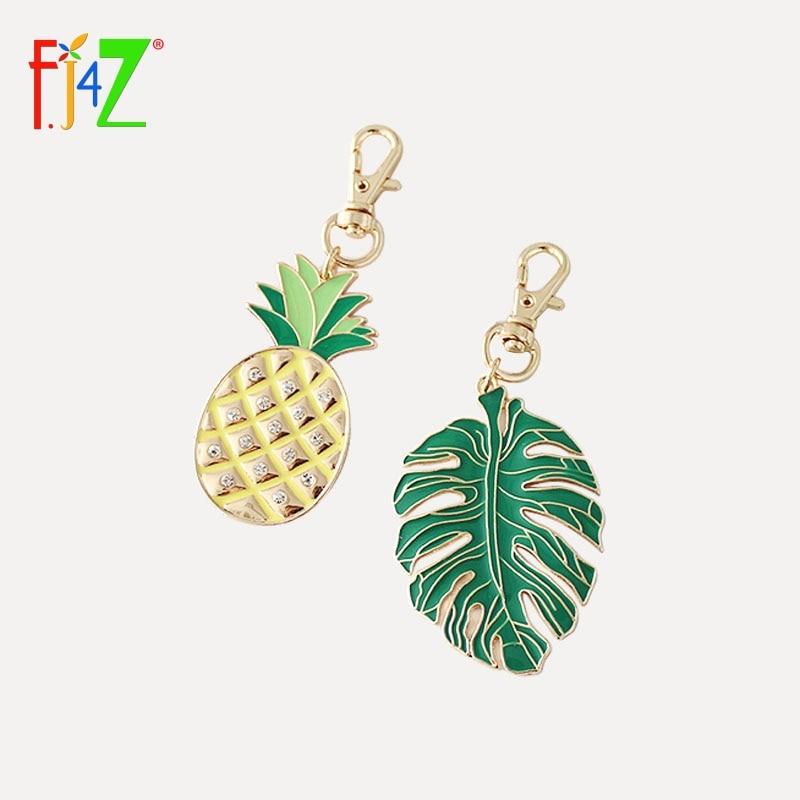 F.J4Z Brand Design Enamel Monstera Leaf Keychain Rhinestone Inlay Pineapple Key Holder Girl's X'mas Gift Jewelry Bijoux