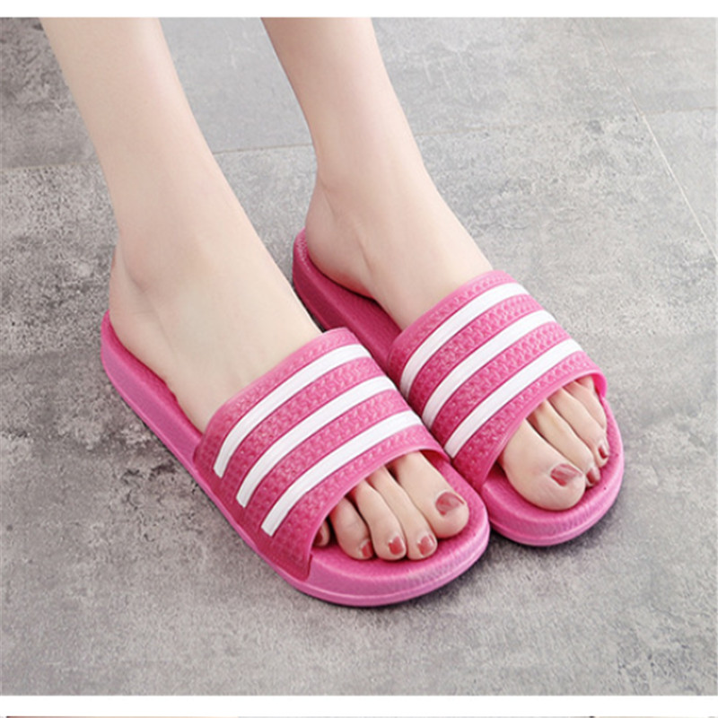 Teen Boys Girls Sandals Shoes Teenage Kids Summer Slippers Man Woman Beach Bath Shoes Home Slippers Casual Stripped PVC Shoes 19