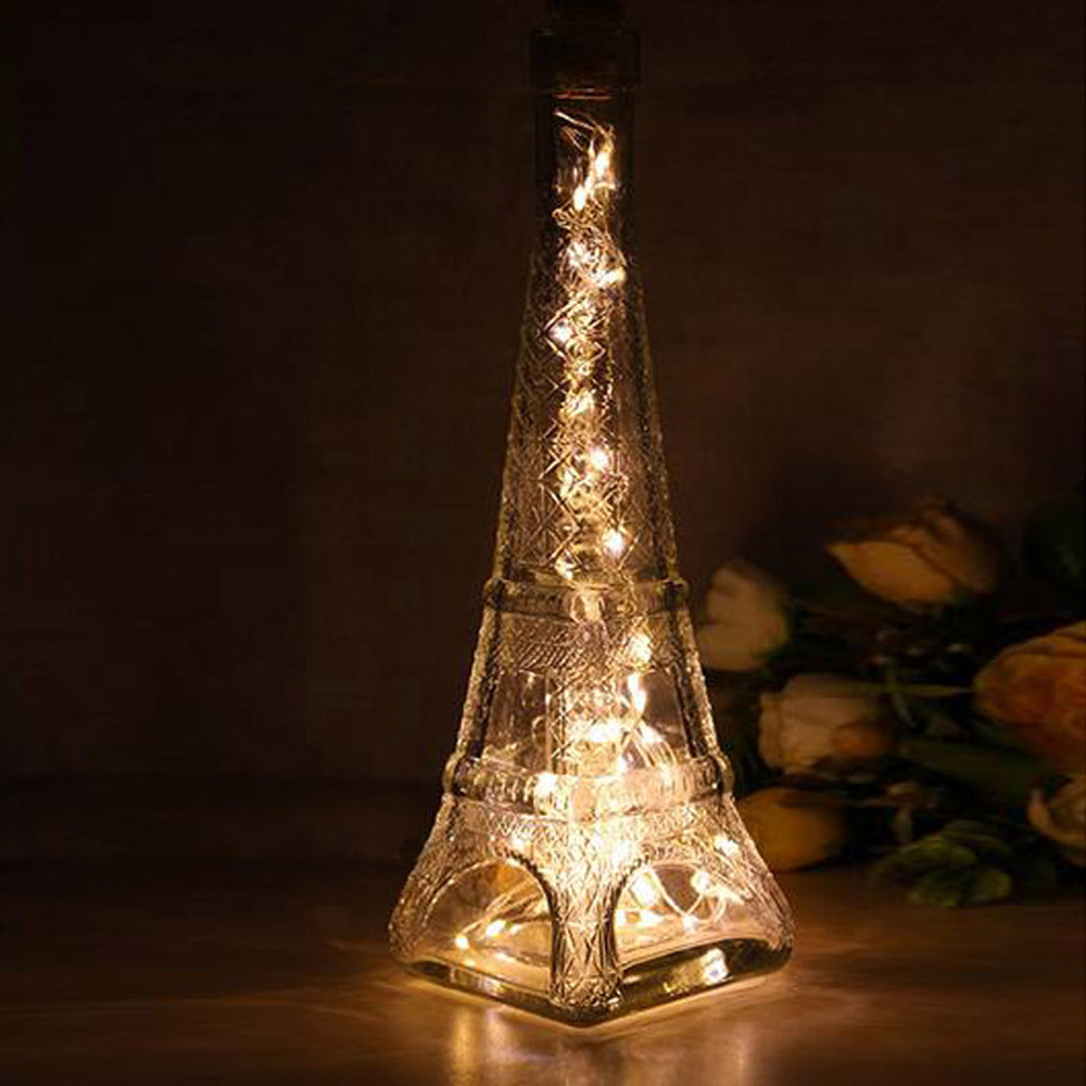 KAKUDER Solar Wine Bottle Cork Shaped String Light 10 LED Night Fairy Light Lamp Bedroom Christmas wedding party