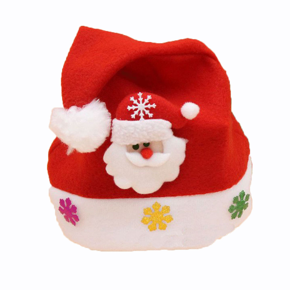 1pc 2017 New Hot Unisex Red Christmas Holiday Xmas Caps Fashion Shinning Paillette Print Santa Claus Caps Gifts Holiday Costumes