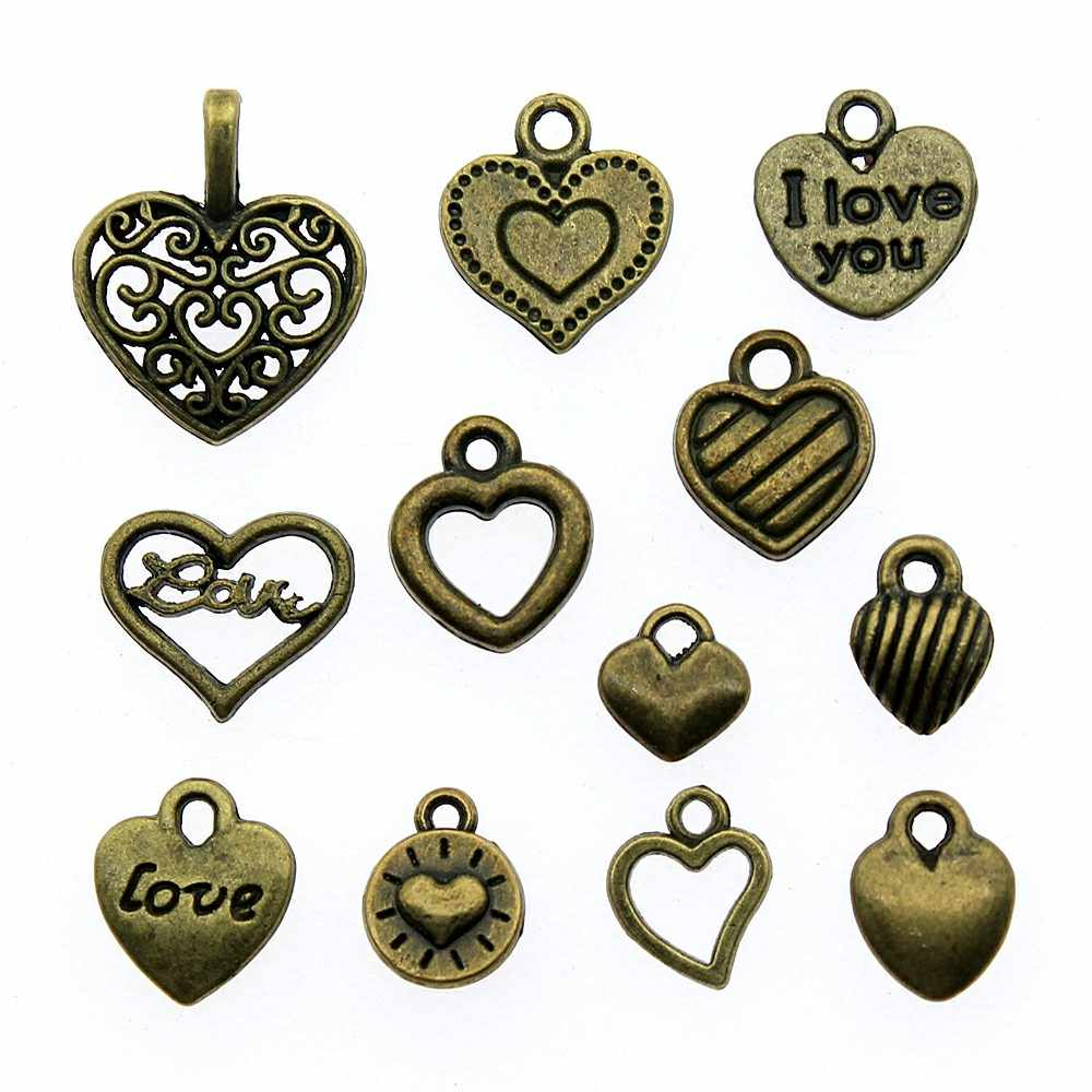 50pcs Hearts Charms Antique Bronze Color Tiny Hearts Pendant Charms Small Hearts Charms Jewelry Accessories