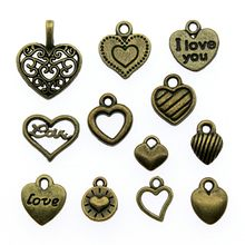 Hearts Charms Antique Bronze Color Tiny Hearts Pendant Charms Small Hearts Charms Jewelry Accessories(China)