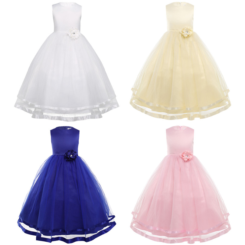 Image 2 - TiaoBug Flower Girl Dresses Holy Communion Dress White Blue Tulle Vestidos Pageant Dresses For Little Girls Ball Gown 2 14Y-in Flower Girl Dresses from Weddings & Events
