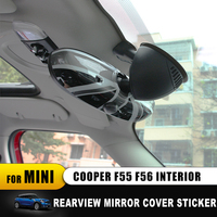 Color Unfade For Mini Cooper F55 F56 Interior Rearview Mirror Cover Shell Union Jack Checker Stickers accessories car Styling