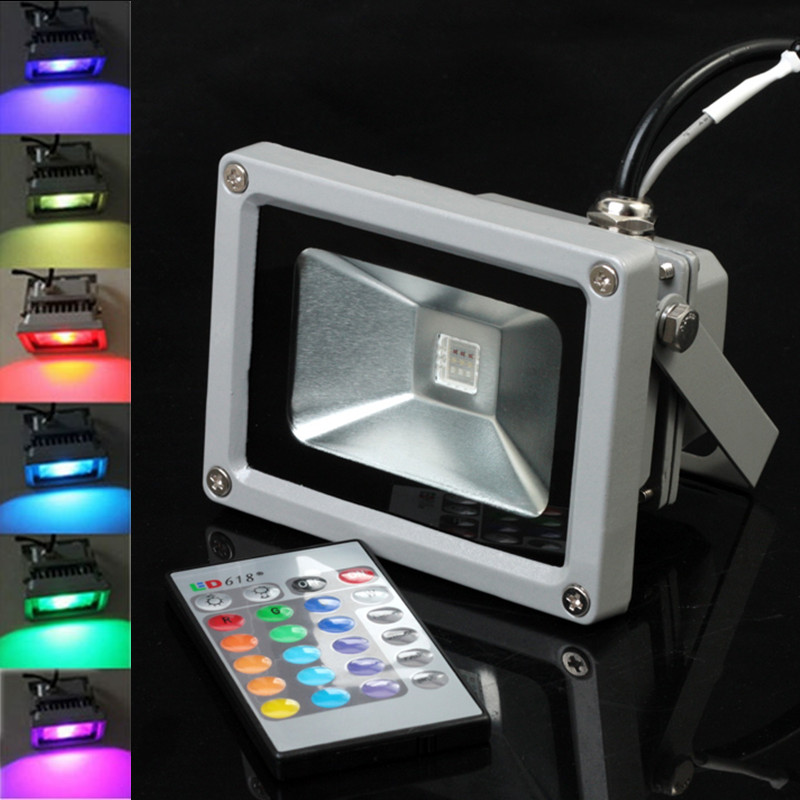 RGB 10W 20W 30W LED Flood Light AC85-265V LED Outdoor Lighting Reflector Spot Floodlight With Remote Control