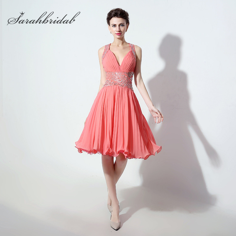 Coral V-Neck Short   Prom     Dresses   vestidos Crystal Beaded Backless pleats Short Cocktail Party Gown A Line Hot Sale In Stock SD246