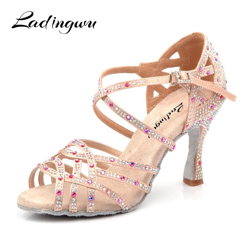 Ladingwu Dance Shoes Latin Women Big Small Red pomegranate Rhinestone Salsa Tango Shoes Dancing Wedding Shoes