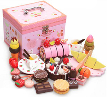 Classic miniature kitchen play set toys wooden Strawberry Chocolate Cake box baby girl gift toys brinquedos