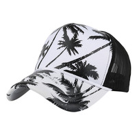 Cheapest Price !! Hats 2017 Women Men Coconut Tree Printing Baseball Cap Snapback Hip Hop Flat Hat Fashion Accessories Jane 9