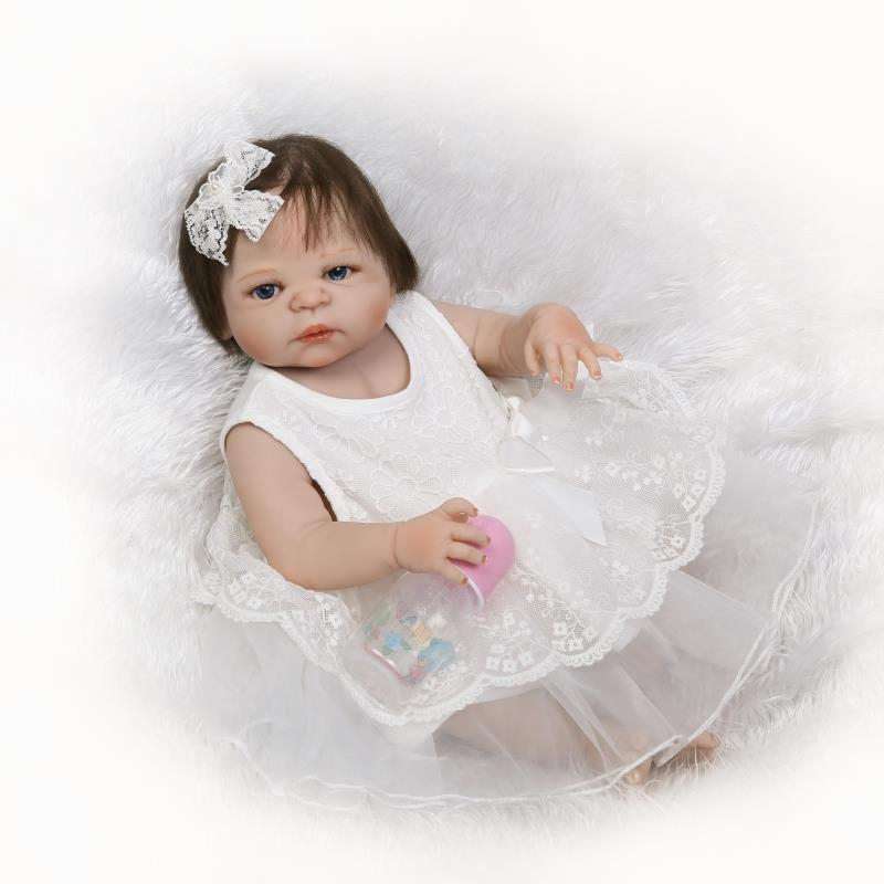 56cm Realistic Fiber Hair Reborn Girl Lifelike Baby Dolls Full Vinyl Body Handmade Silicone Reborn Dolls Stylish Kids Xmas Gifts56cm Realistic Fiber Hair Reborn Girl Lifelike Baby Dolls Full Vinyl Body Handmade Silicone Reborn Dolls Stylish Kids Xmas Gifts