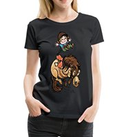 Thelwell Bucking Horse Funny Illustration Women Premium T Shirt 2018 Summer Funny Print Female T Shirts