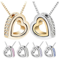 Gold Plated Heart in Heart Shaped Austrian Crystal Pendant Necklace Platinum Plated Fashion Jewelry for Women