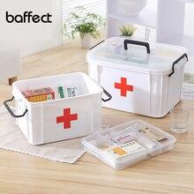 Baffect First Aid Kits Large Capacity Medicine Chest Organizer Medical Storage Box Container Box 2 Layer Plastic Storage Box