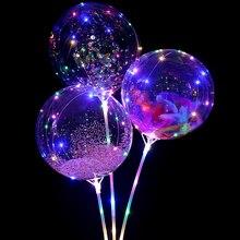 10PCS 20Inch Led Balloon light party Foam feather confetti balloon globos Wedding birthday decorations helium balloons
