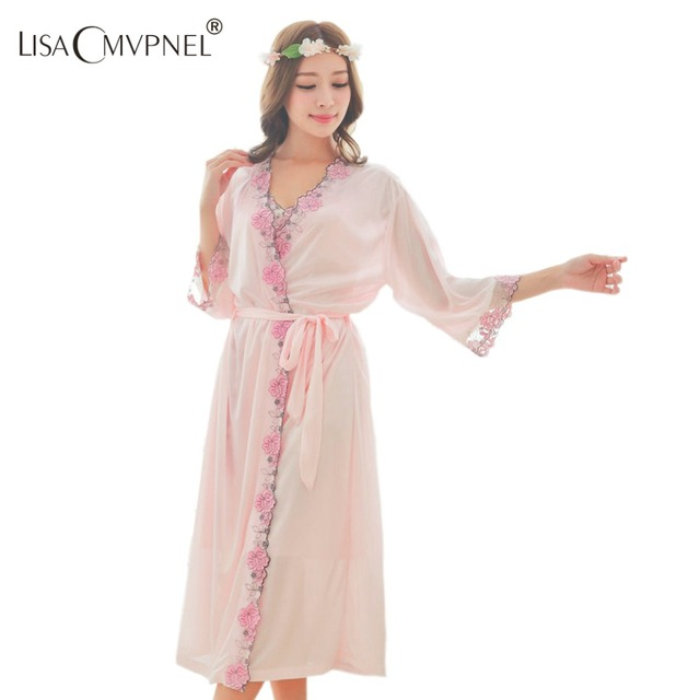 Lisacmvpnel women's quality full optical viscose robe set  comfortable breathable plus size embroidered Bathrobe