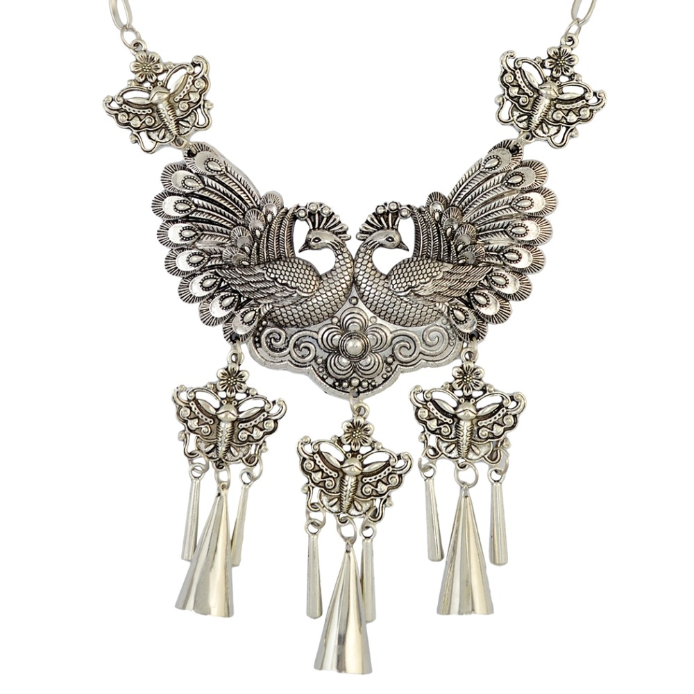 Vintage Style 4 Design Long Chain Silver Plated Pendant Tassel Moon Butterfly Peacock Dragon Necklace For Women Jewelry