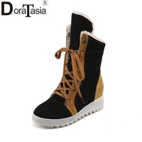 DoraTasia Large Size 34 43 Mixed Colors Lace Up Women Shoes Woman Leisure Height Increasing Winter