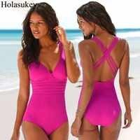 Conjunto de Bikinis sólidos HolaSukey Sexy traje de baño de una pieza para Mujer 2019 Mujer nuevo traje de baño Bikini Biquini Monokini