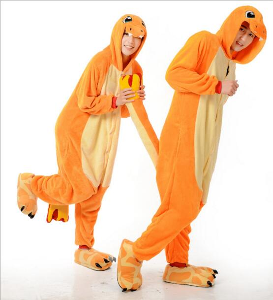 New 2017 Charmander Onesie Anime Onesie Sleepwear Pajamas Cosplay Costume Adult Pyjamas