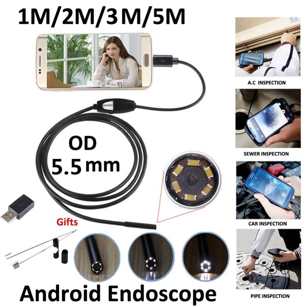 2018 1/2/3/5 Mt Kabel 5,5 Mm Usb Endoskop Kamera 2mp Wasserdichte Usb Draht Schlange Rohr Inspektion Endoskop Für Otg Android Telefon Phantasie Farben Werkzeuge