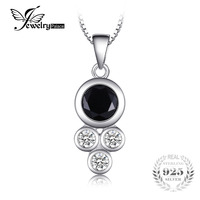 JewelryPalace Succinct 1 9ct Created Black Spinel Bezel Setting Round Pendant Necklaces Women 925 Sterling Silver